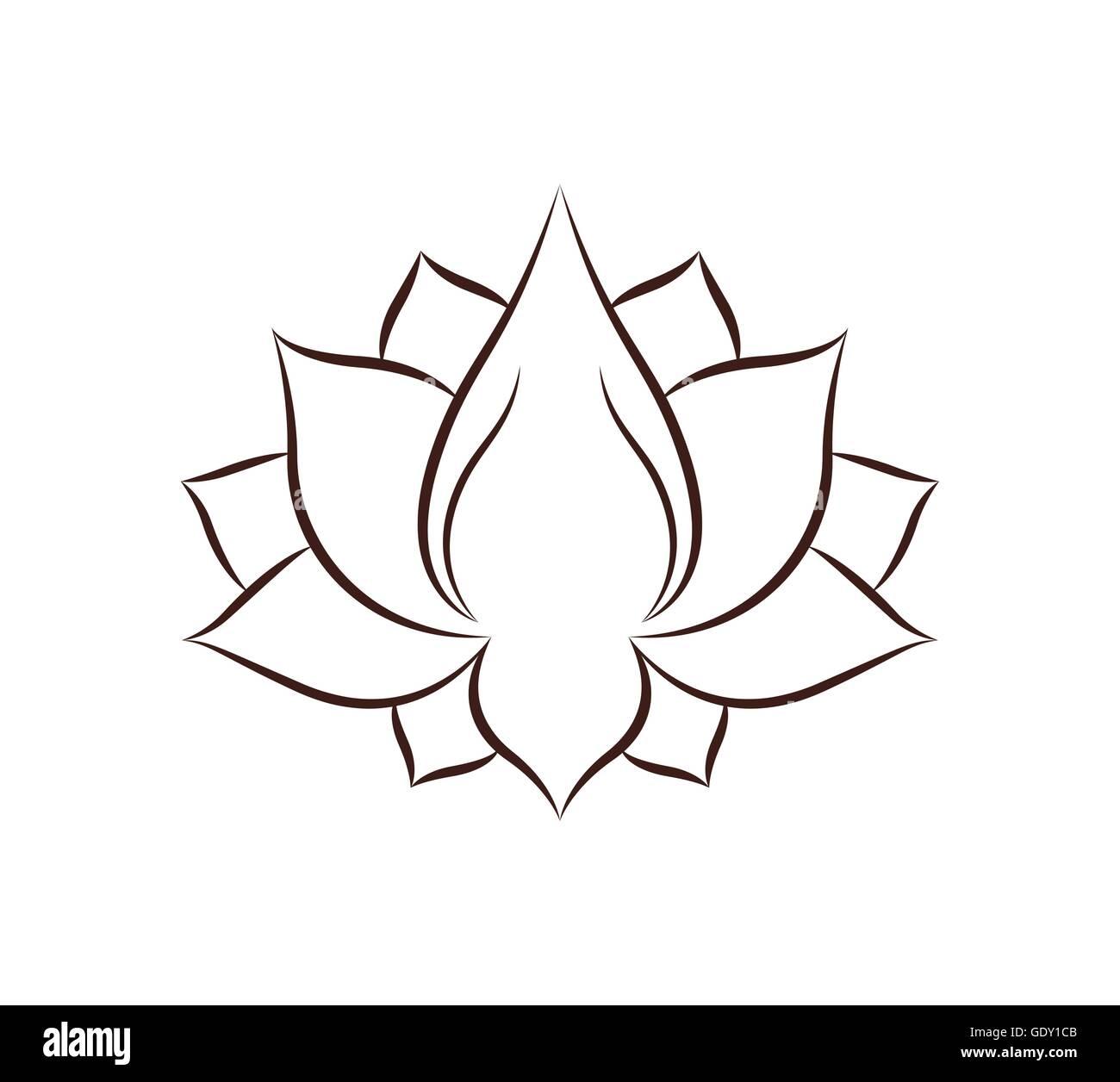 Dessin Fleur De Lotus Design Icône Isolé Vecteurs Et