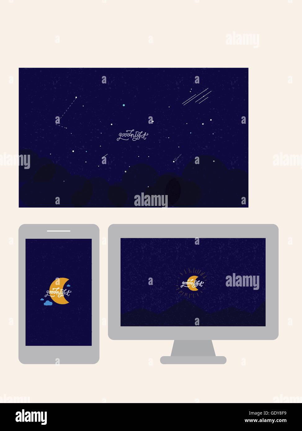 Message De Bonne Nuit Et Illustration De Lune Sur Tablette
