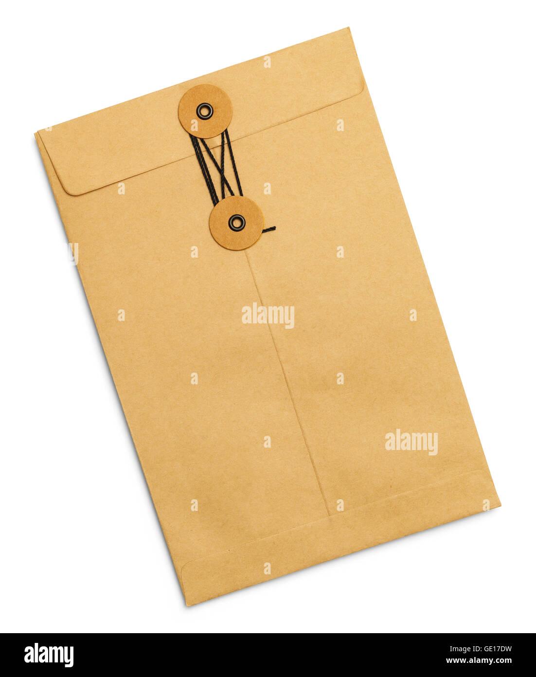 Scellés liés Brown Lettre Enveloppe isolé sur fond blanc. Photo Stock