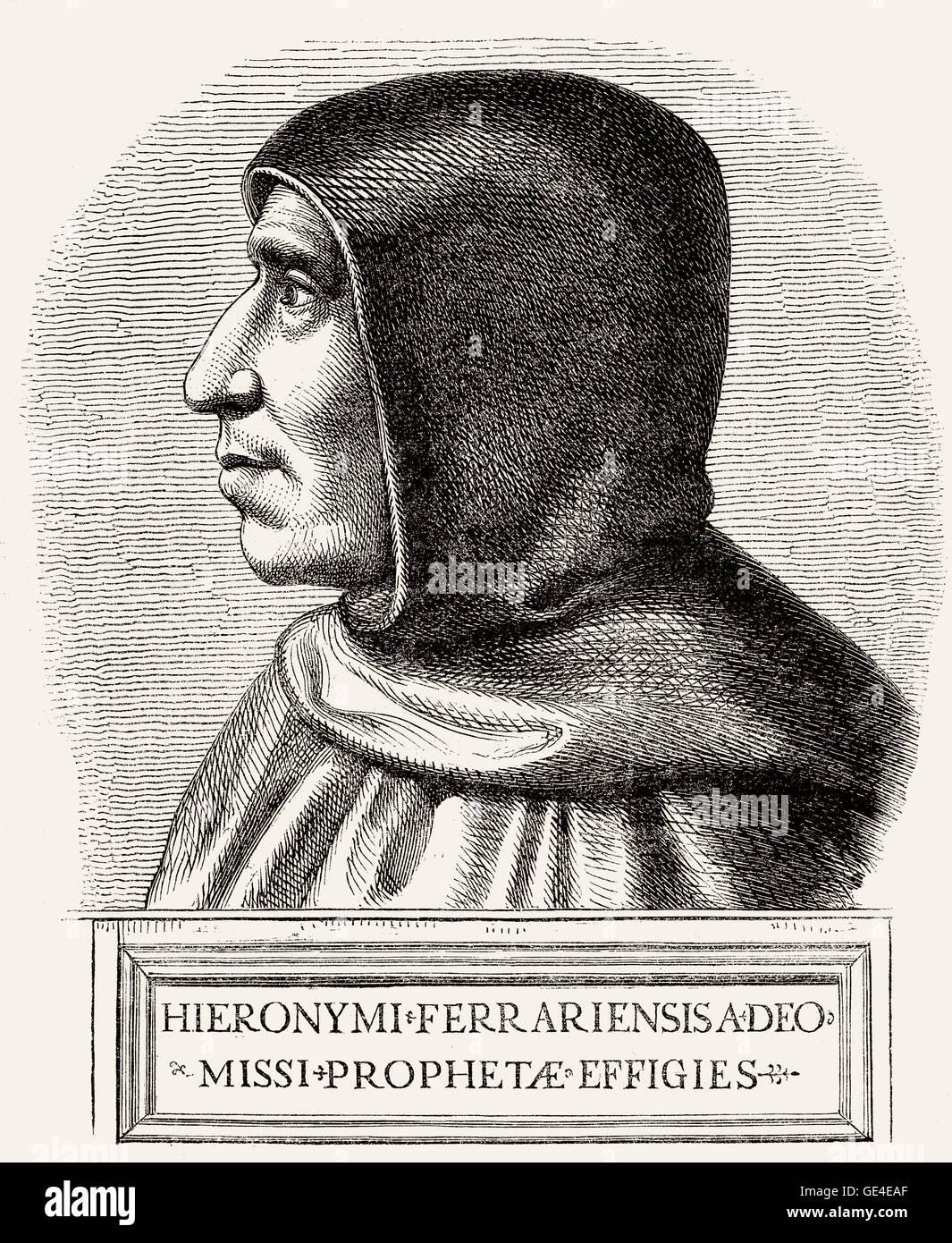 Girolamo Jérôme Savonarole, 1452-1498, un Italien République Dominicaine et prédicateur de la Photo Stock