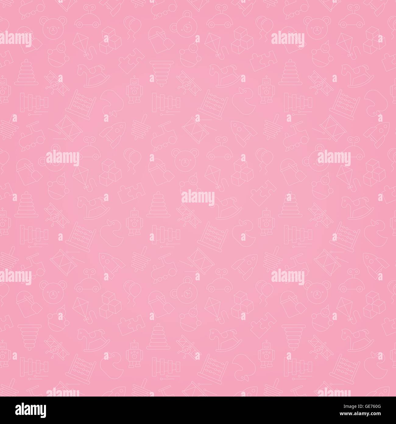 Motif de fond transparente rose de toys icons Photo Stock