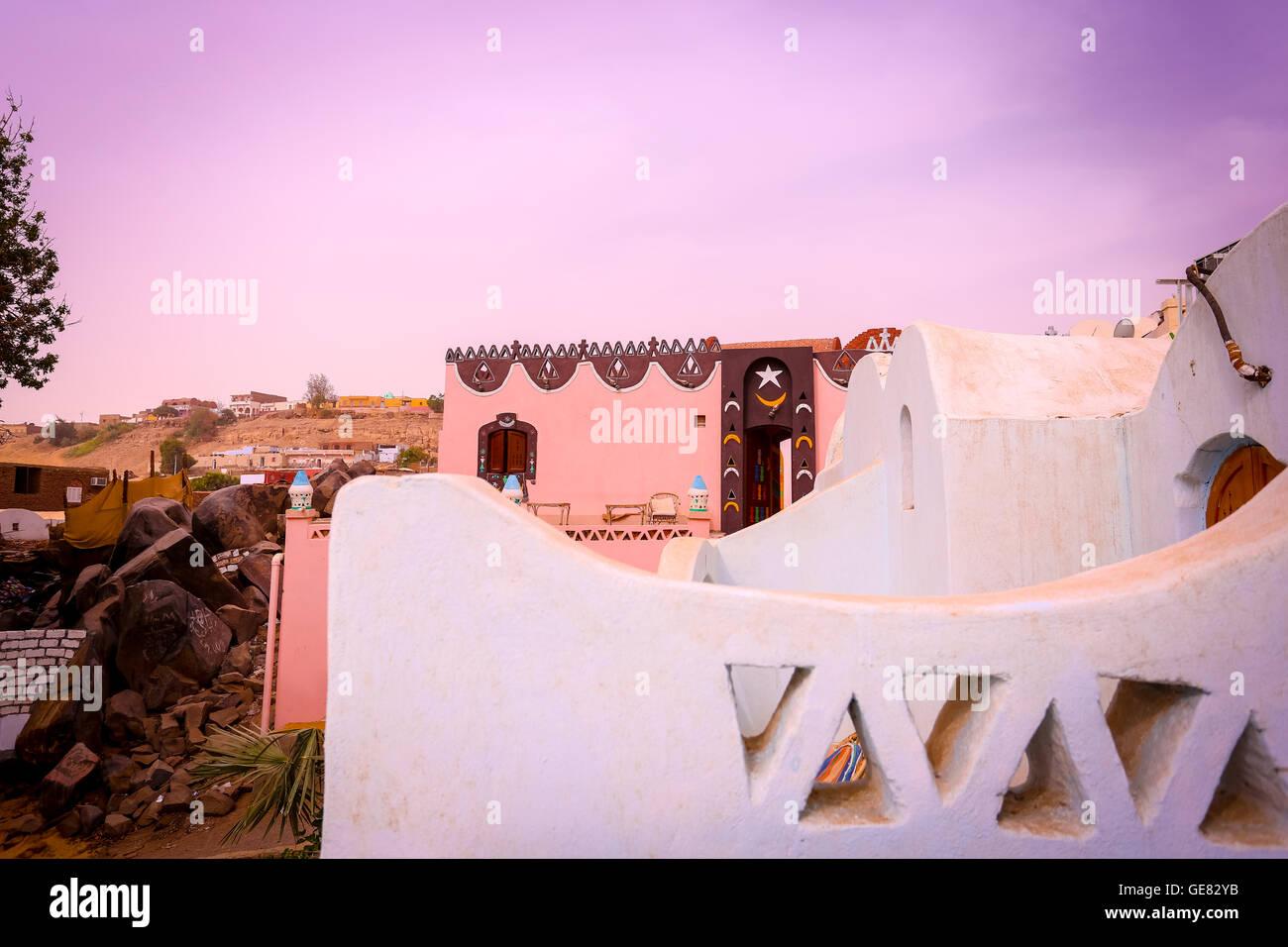 Maison nubienne, Assouan, Egypte Photo Stock