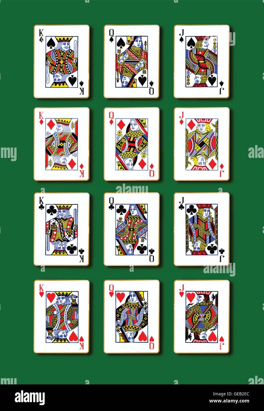 Le royal jouer aux cartes avec un fond vert Photo Stock