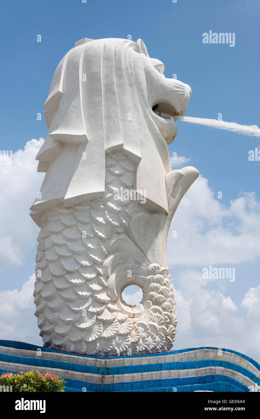 La statue du Merlion (Singa-Lau), Marina Bay, zone centrale, l'île de Pulau Ujong (Singapour), Singapour Banque D'Images