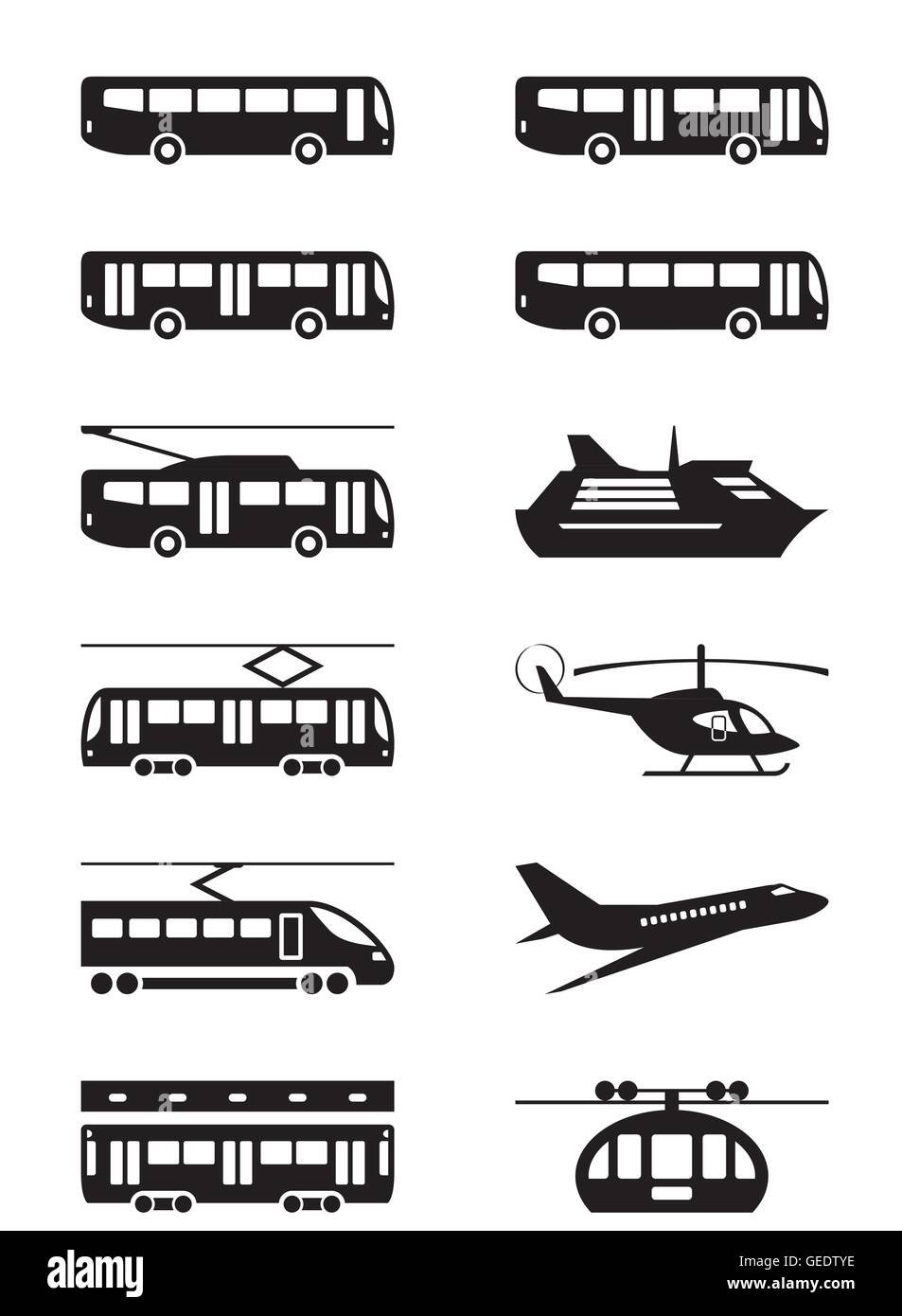 Les véhicules de transport de passagers - vector illustration Photo Stock