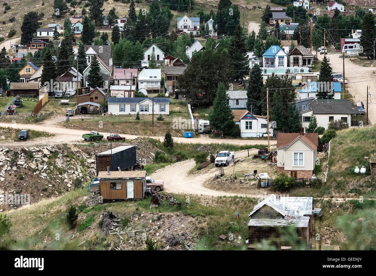 Logements pour les personnes à faible revenu dans la ville minière de Victor, Colorado, USA. Photo Stock