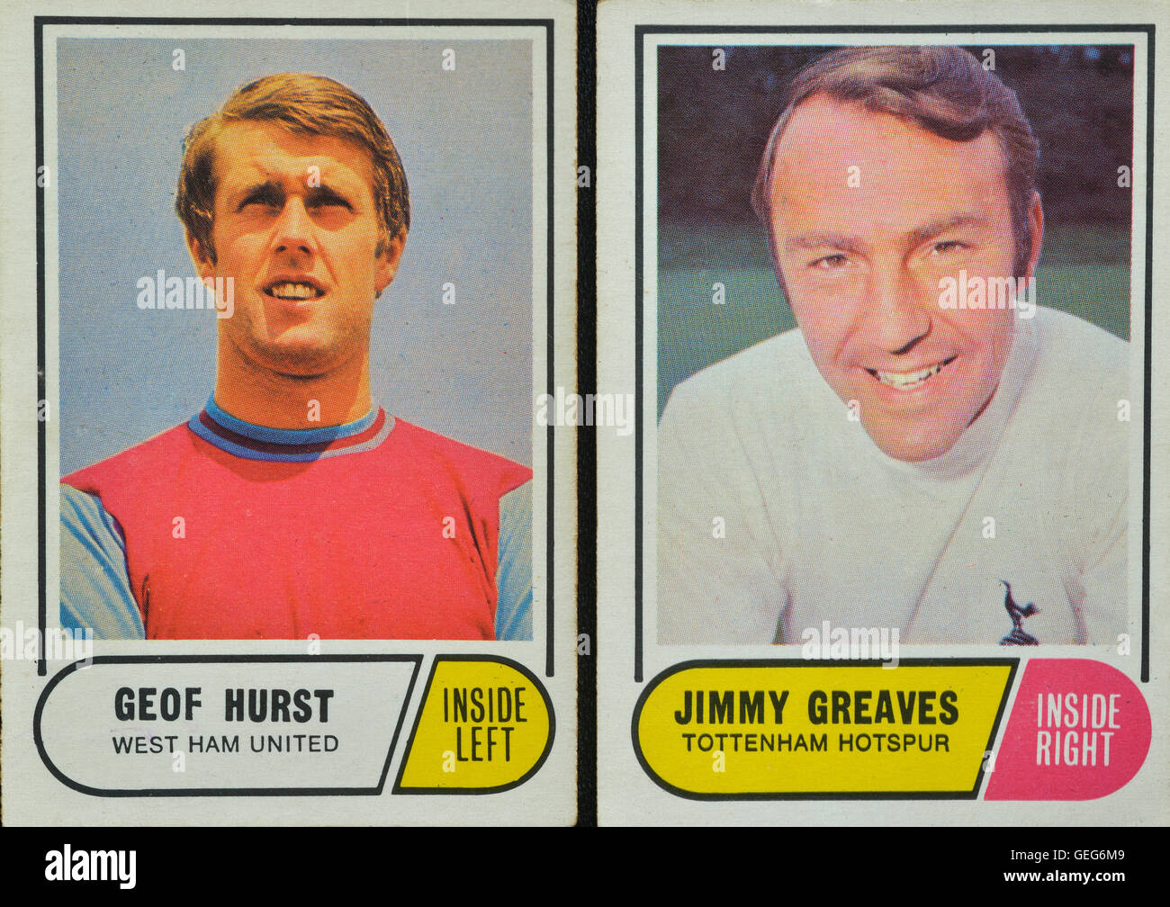 Bubble Gum trading cartes de soccer de Geoff Hurst et Jimmy Greaves. Photo Stock
