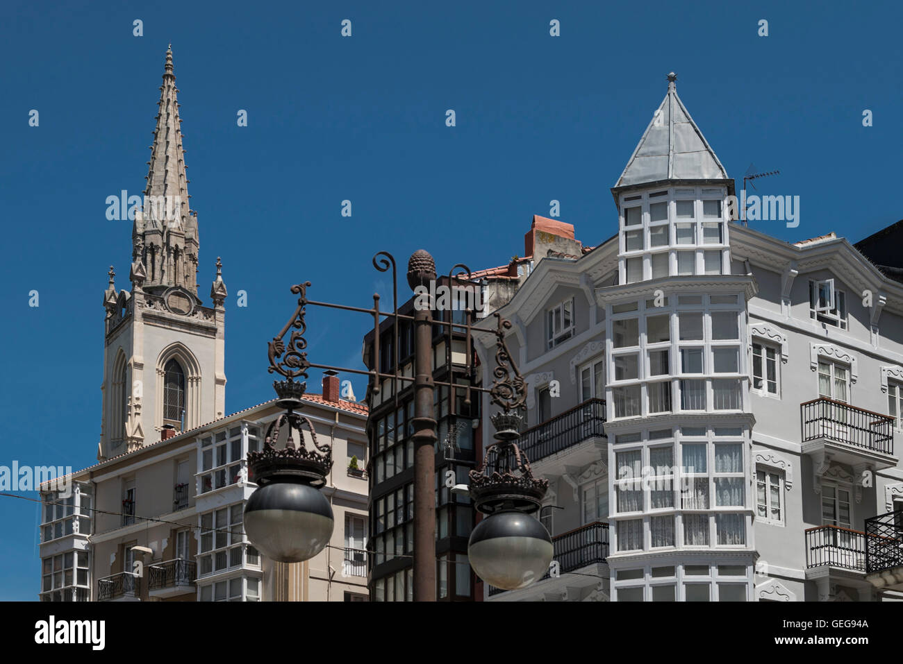 Architecture le centre-ville de Santander, Cantabria, ESPAGNE Photo Stock