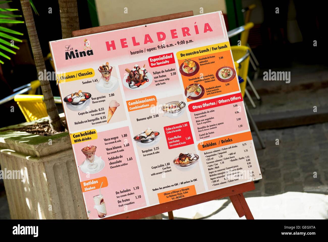 Cuba Menu La Vieille Havane, La Havane des prix alimentaires Restaurant CUC Photo Stock