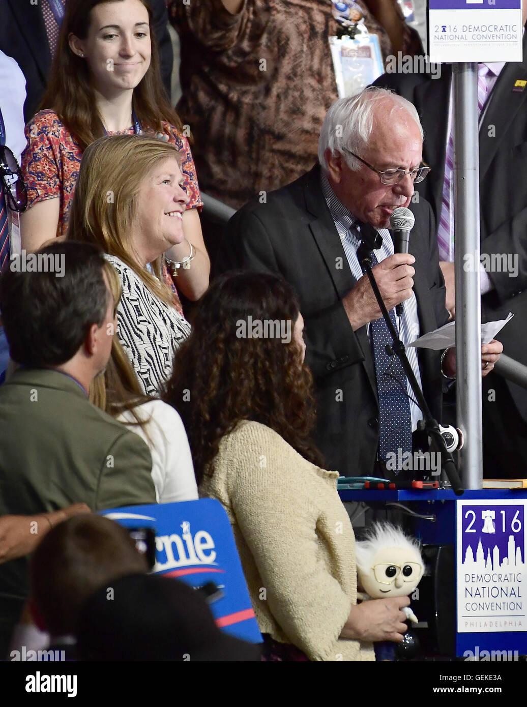 Philadelphie, Pennsylvanie, USA. 26 juillet, 2016. États-unis le sénateur Bernie Sanders (démocrate Photo Stock