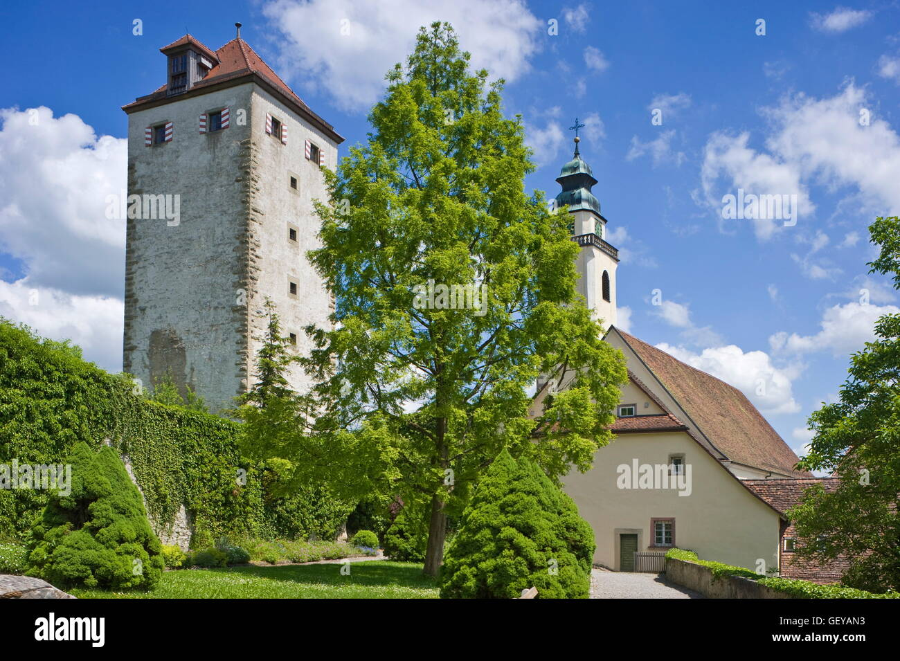 Géographie / voyage, Allemagne, Bade-Wurtemberg, Horb am Neckar, jardin du château avec Schurkenturm (blackguard Photo Stock