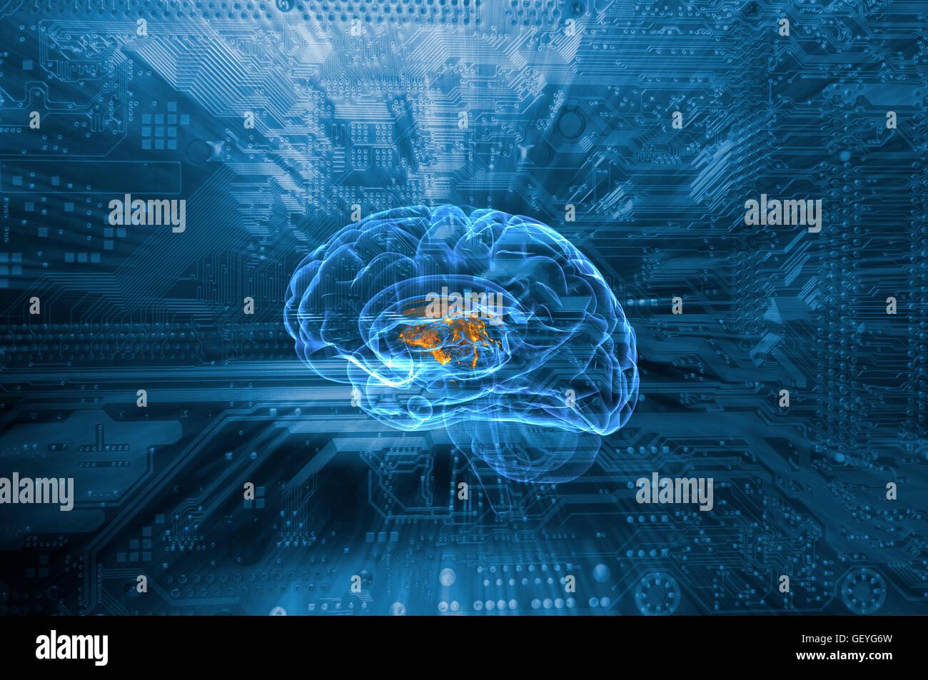 L'intelligence artificielle et de la communication Photo Stock