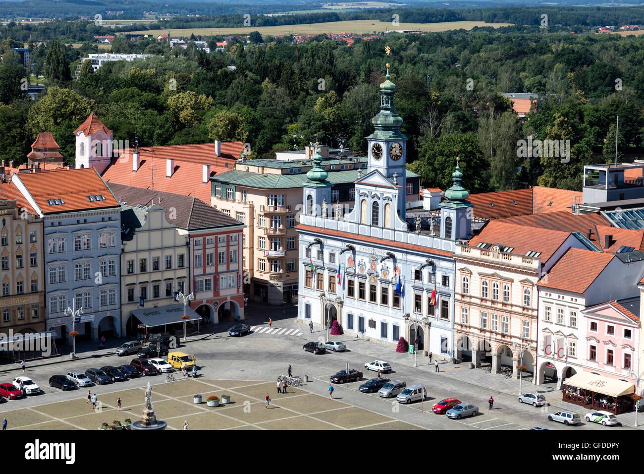 Centre historique de Ceske Budejovice, Budweis, Budvar, la Bohême du Sud, République Tchèque Banque D'Images