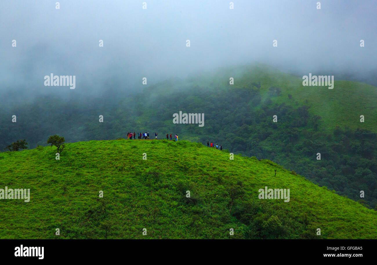 Tourist profitant de la vue sur les collines verdoyantes - - sur le chemin de Budangiri Baba à Chikmagalur (Inde) Banque D'Images