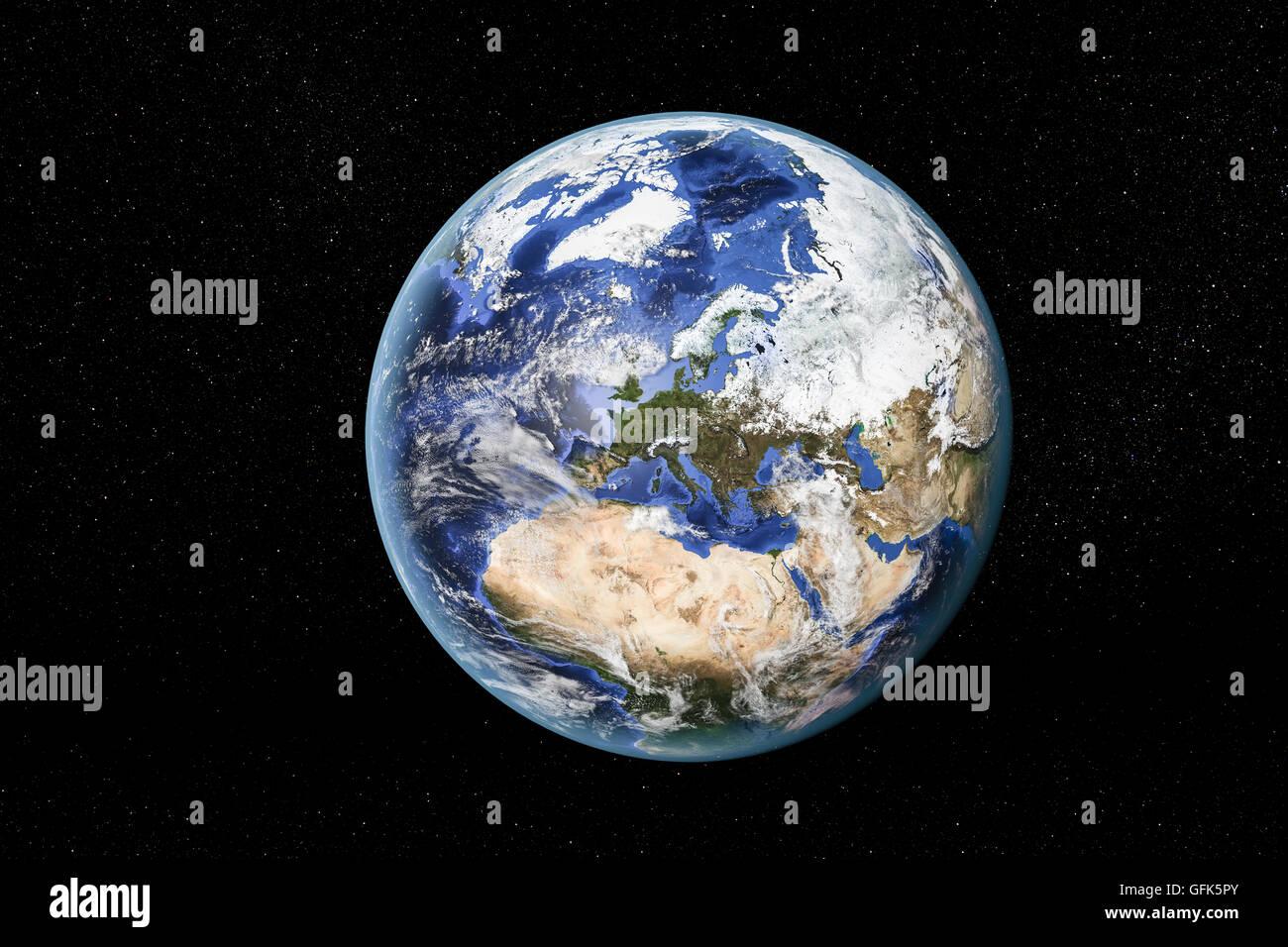Vue détaillée de la Terre de l'espace, montrant l'Afrique du Nord, en Europe et au Moyen-Orient. Photo Stock