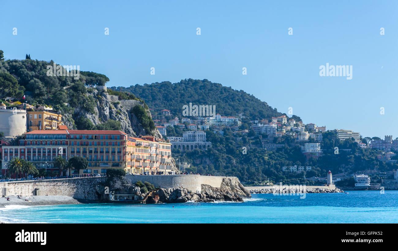 Carte De Visite Nice Paysage Avec Vue Sur La Mer Et Les Montagnes Photo Stock