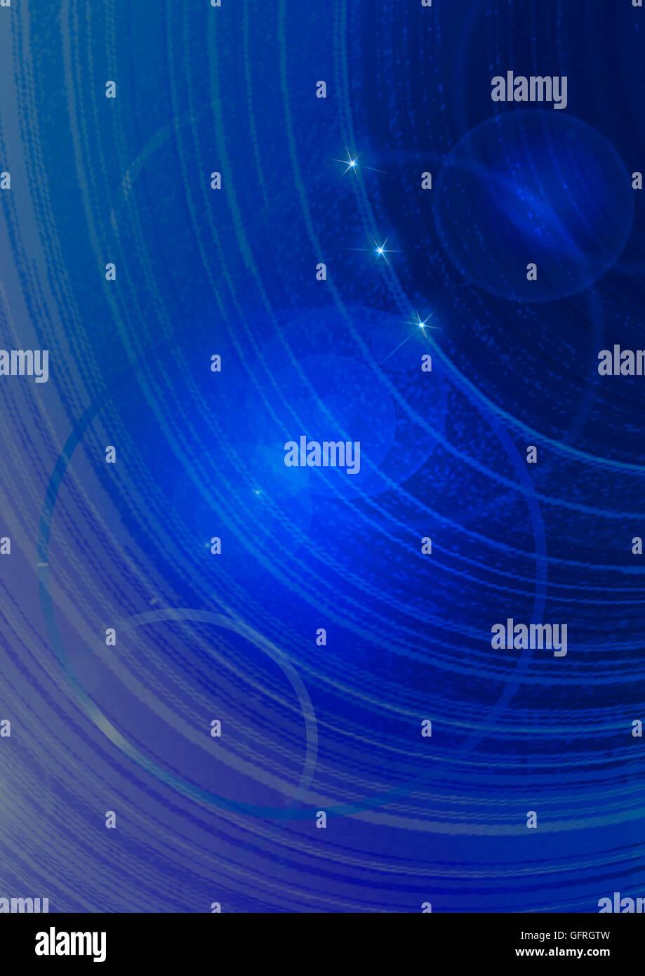 Fond bleu outremer couverts étoiles brillantes les cercles et les arcs Photo Stock