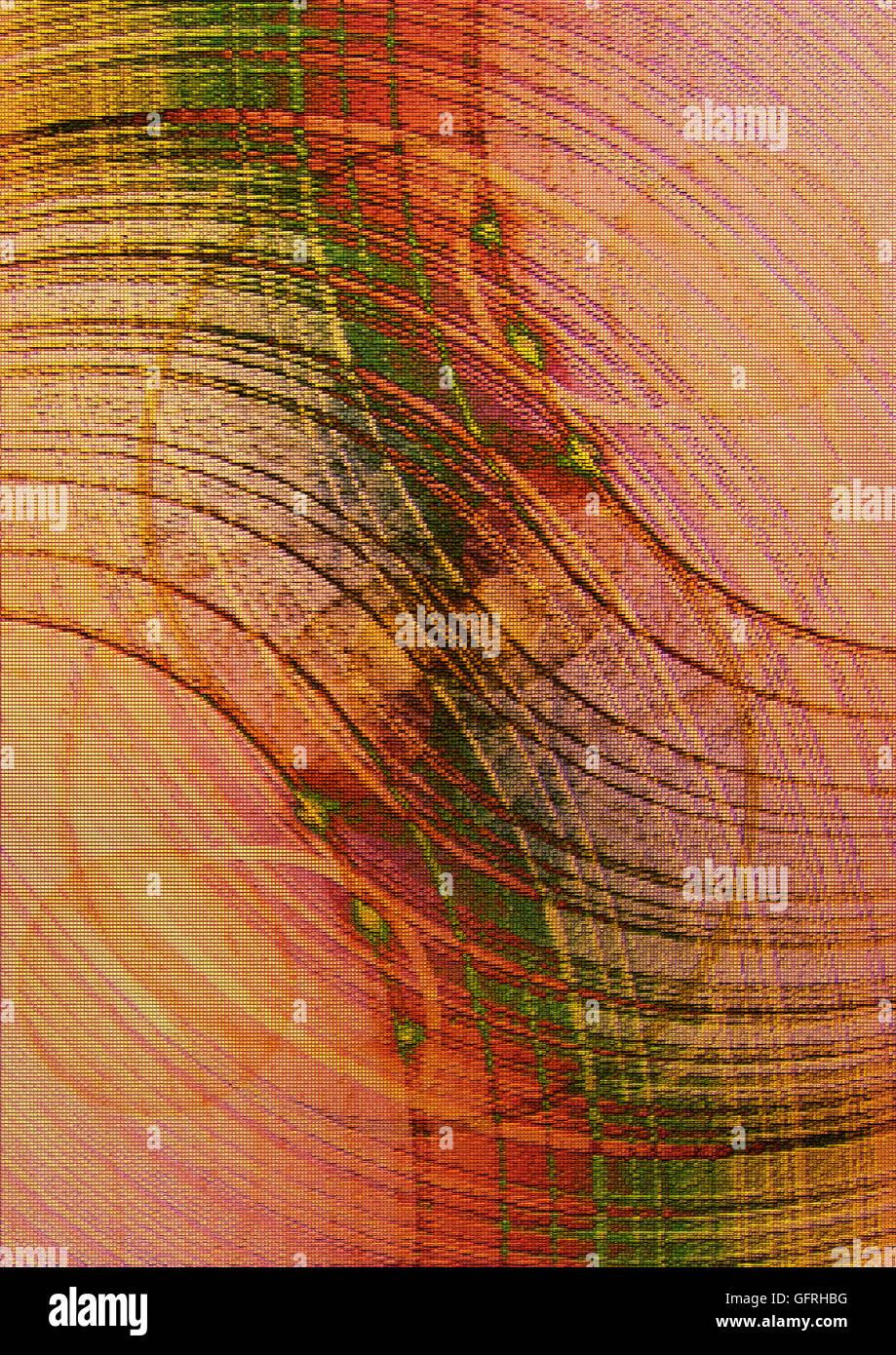 Arrière-plan en mosaïque dans les tons orange avec des arcs et des ravinements vert cercles couverts Photo Stock
