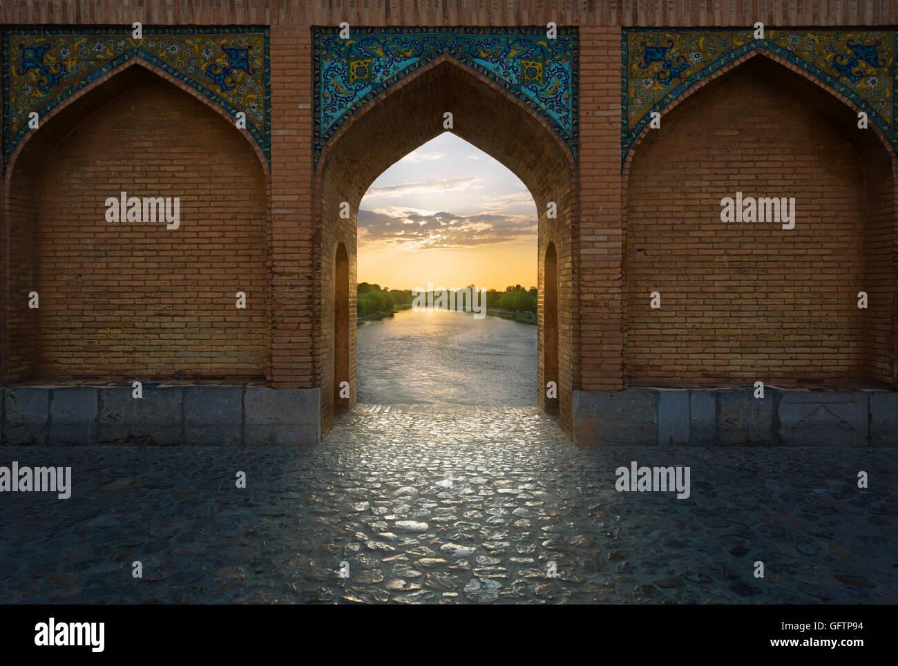 Pont Khaju est un pont dans la province d'Isfahan, Iran. Photo Stock