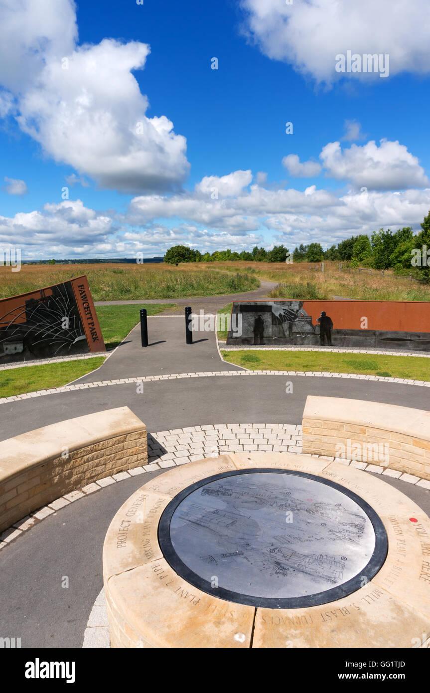 Le cercle de la Genèse par l'artiste Chris Brammall Fawcett au bord du parc, Berry, CONSETT, Co Durham, Photo Stock