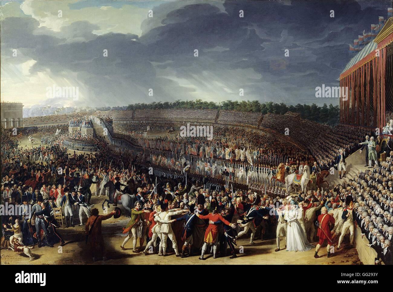 Charles Thévenin école française Fête de la Fédération, le 14 juillet 1790 sur le Photo Stock
