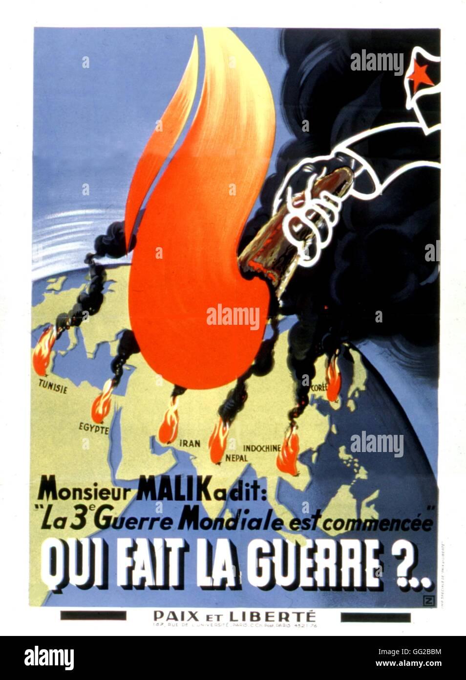 """Poster du mouvement """"Paix et liberté"""". Au cours de la propagande anticommuniste et antisoviet Guerre Photo Stock"""