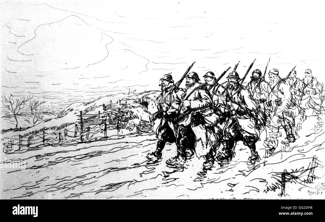 Dessin de renefer soulagement des soldats d 39 infanterie pr s de 1914 france la premi re guerre - Dessin de soldat ...