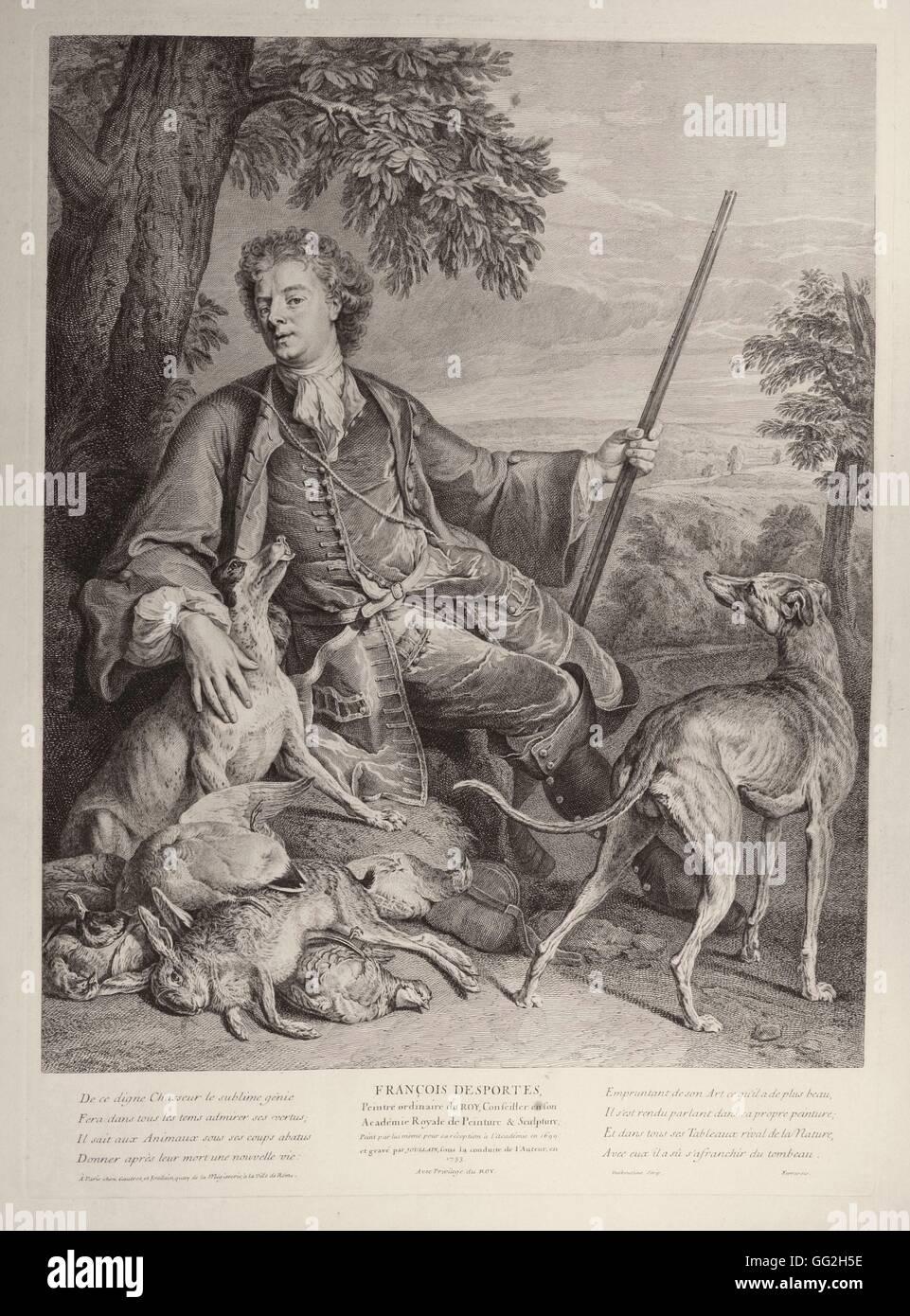 Alexandre Francois Desportes 1661 1743 Peintre Animalier Francais Apres Gravure Son Autoportrait Photo Stock Alamy