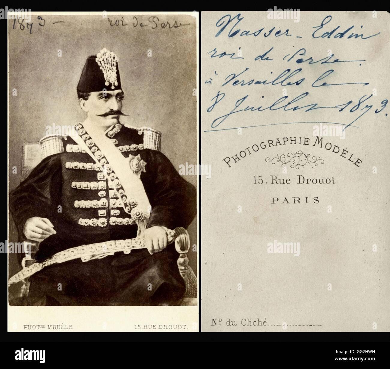 Portrait De Nasseredin Shah 1831 1896 Roi Perse Iran Partir 1848 Le 8 Juillet 1873 Carte Visite Taille