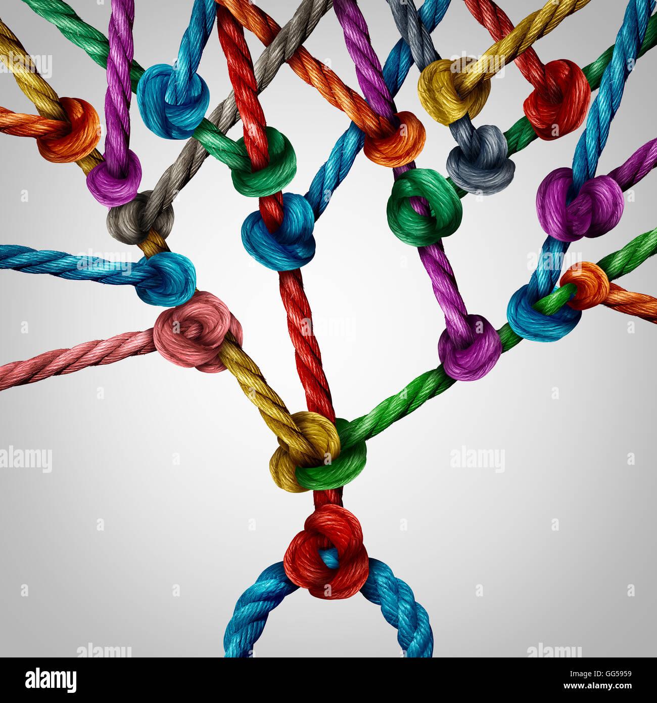 Arbre de réseau connexion sous la forme d'un groupe de cordes attachées ensemble comme une structure Photo Stock