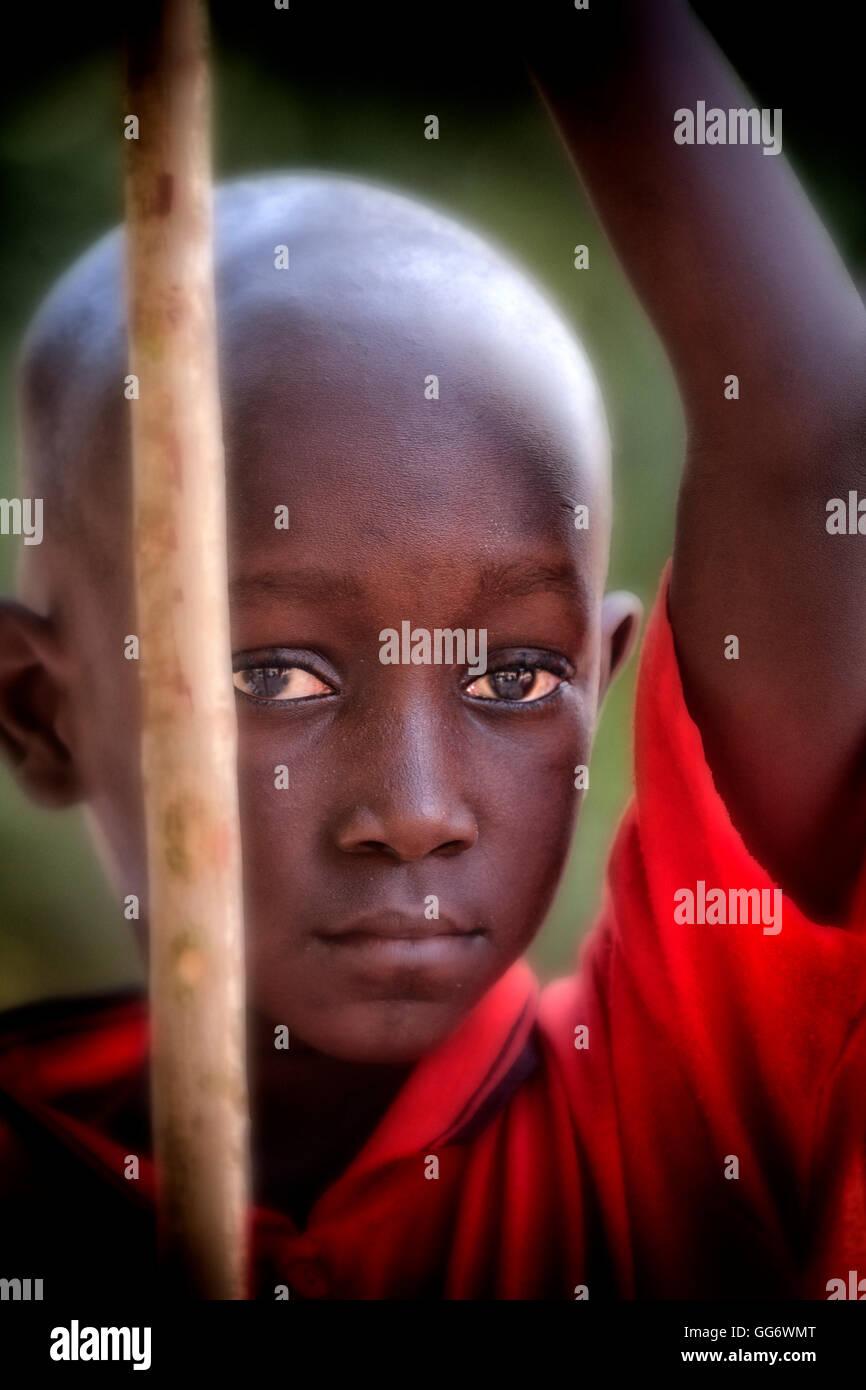 Garçon sénégalais à St Louis au Sénégal Afrique de l'Ouest Photo Stock