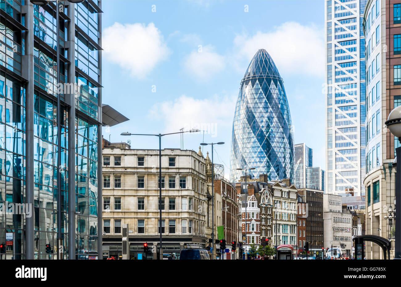 Vue sur la ville de Londres autour de la gare de Liverpool Street Photo Stock