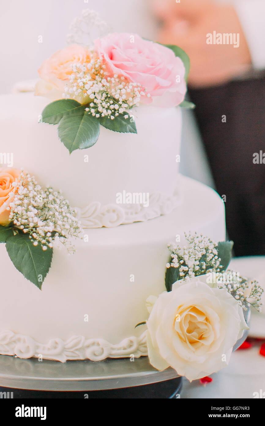 Close-up de délicieux blanc gâteau de mariage décoré avec des roses rose Photo Stock