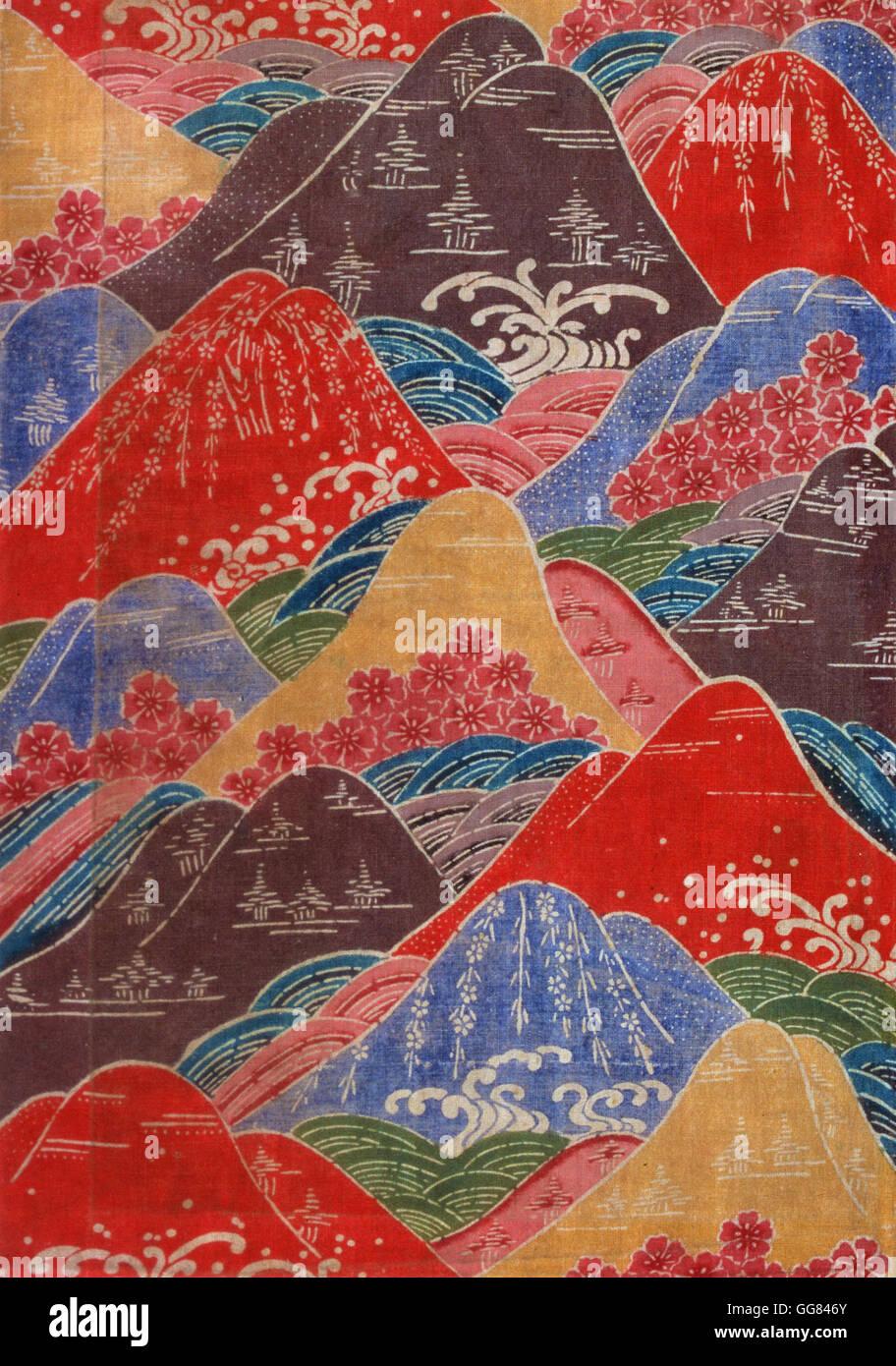 Fragment de textiles Bingata- fleurs de cerisier, les vagues, les motifs des montagnes Photo Stock
