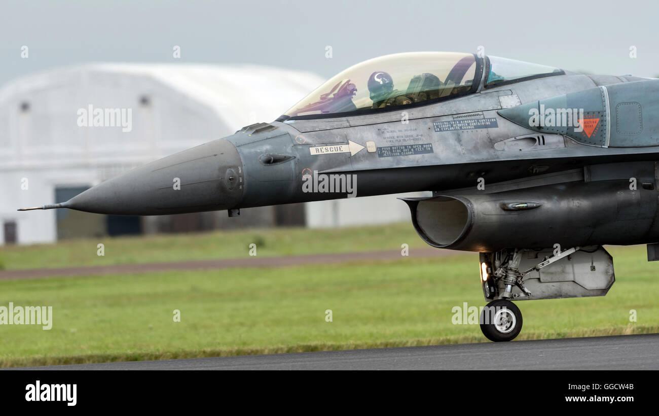 F-16C Fighting Falcon Hellanic à l'Armée de l'air Royal International Air Tattoo 2016 Banque D'Images