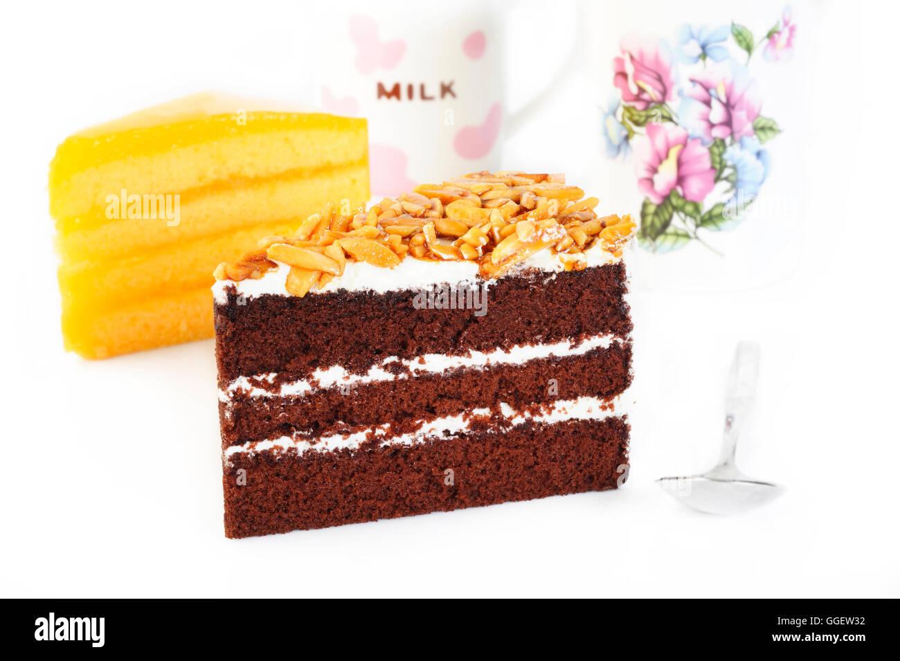 Gâteau au chocolat et amandes Photo Stock