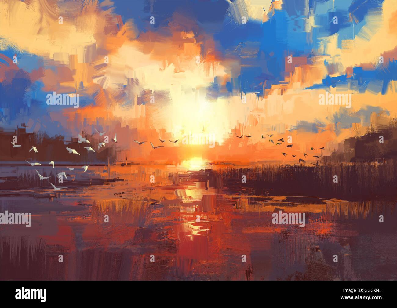 Magnifique tableau montrant le coucher du soleil sur le lac,illustration Photo Stock