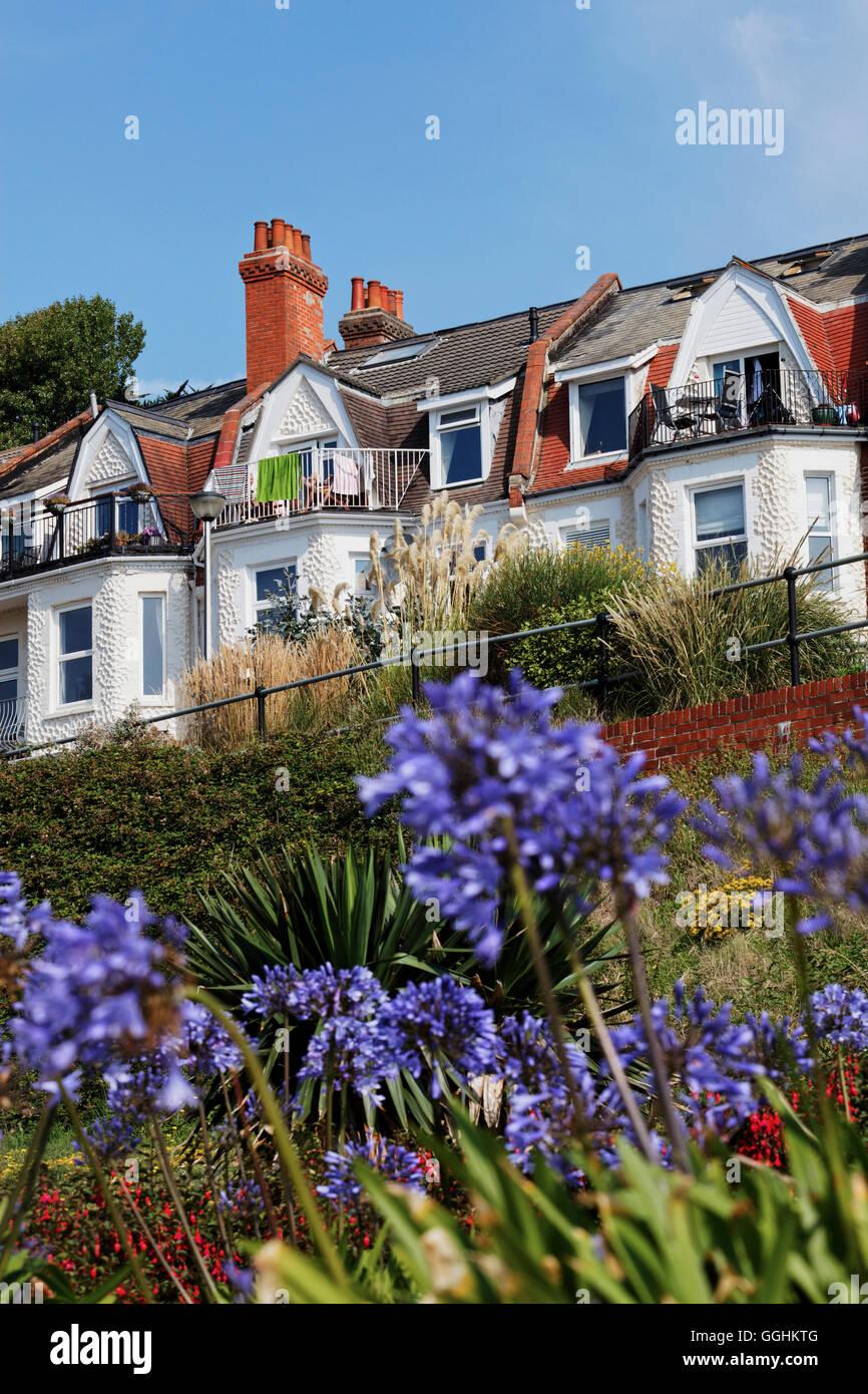 Dans les maisons résidentielles, Boscombe Bournemouth, Dorset, Angleterre, Grande-Bretagne Photo Stock