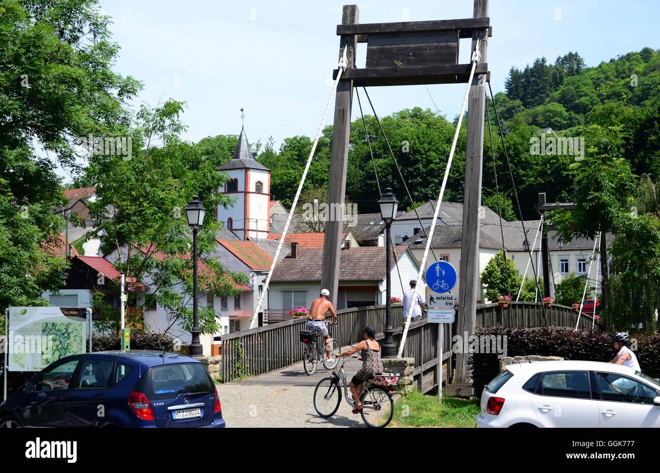 Près de M Metzdorf sur la Sûre près de Echternach, Luxembourg Photo Stock