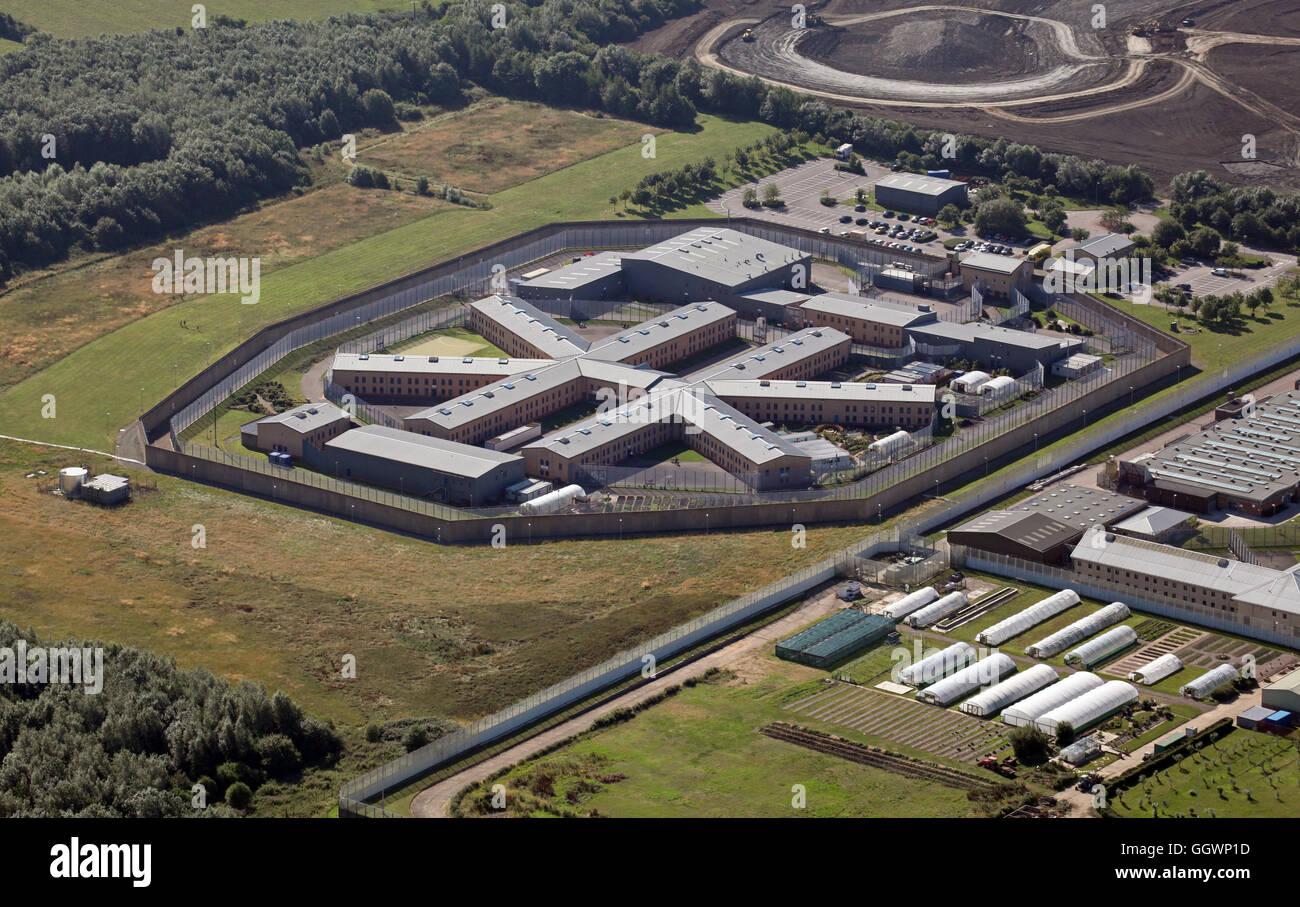 Vue aérienne de la prison HMP Rye Hill près de Rugby, Royaume-Uni Photo Stock