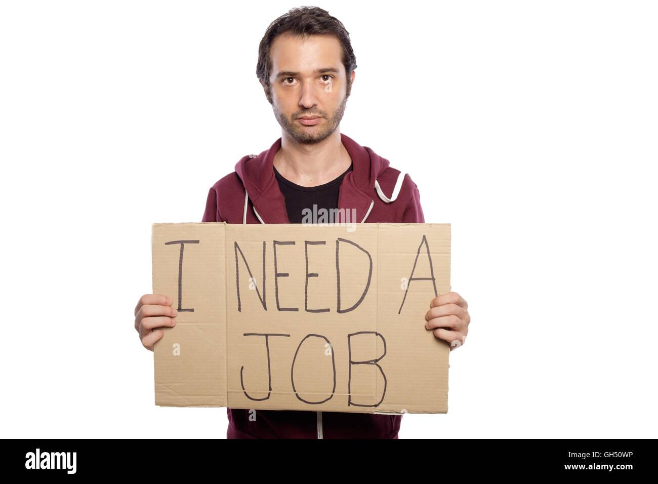 Homme au chômage tenant un carton isolé sur fond blanc Photo Stock