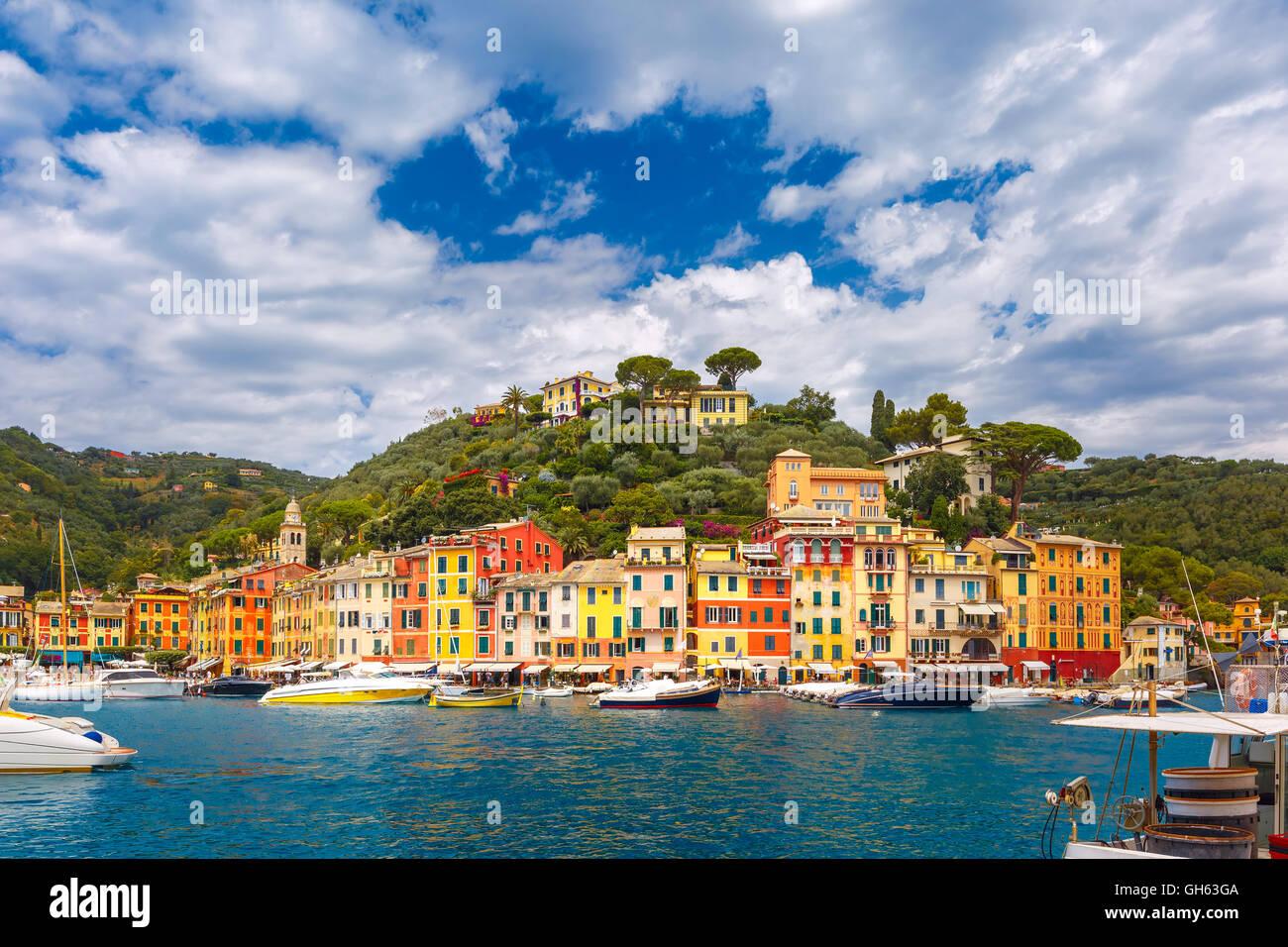Panorama de Portofino, Riviera Italienne, la Ligurie Photo Stock