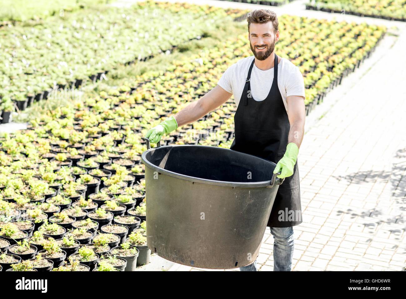 Beau jardinier godet énorme Photo Stock
