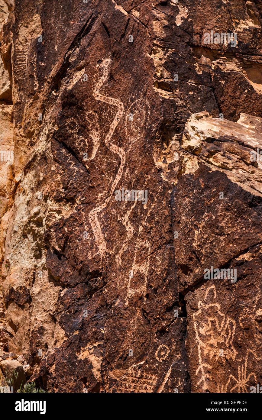 Pétroglyphes à Parowan Gap, Red Hills près de Parowan, Utah, USA Banque D'Images