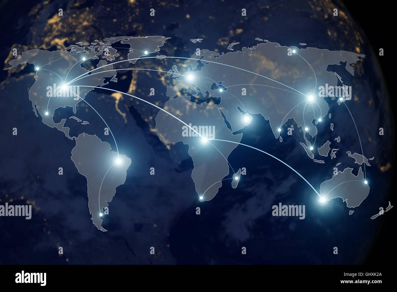 Technologie de connexion réseau - concept de partenariat connexion réseau et carte du monde. Éléments Photo Stock