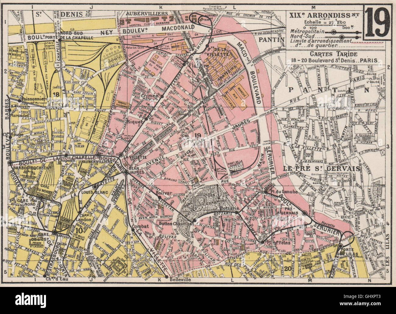 Carte Buttes Chaumont.Paris 19e 19e Xixe Arrondissement Buttes Chaumont Ancienne Carte