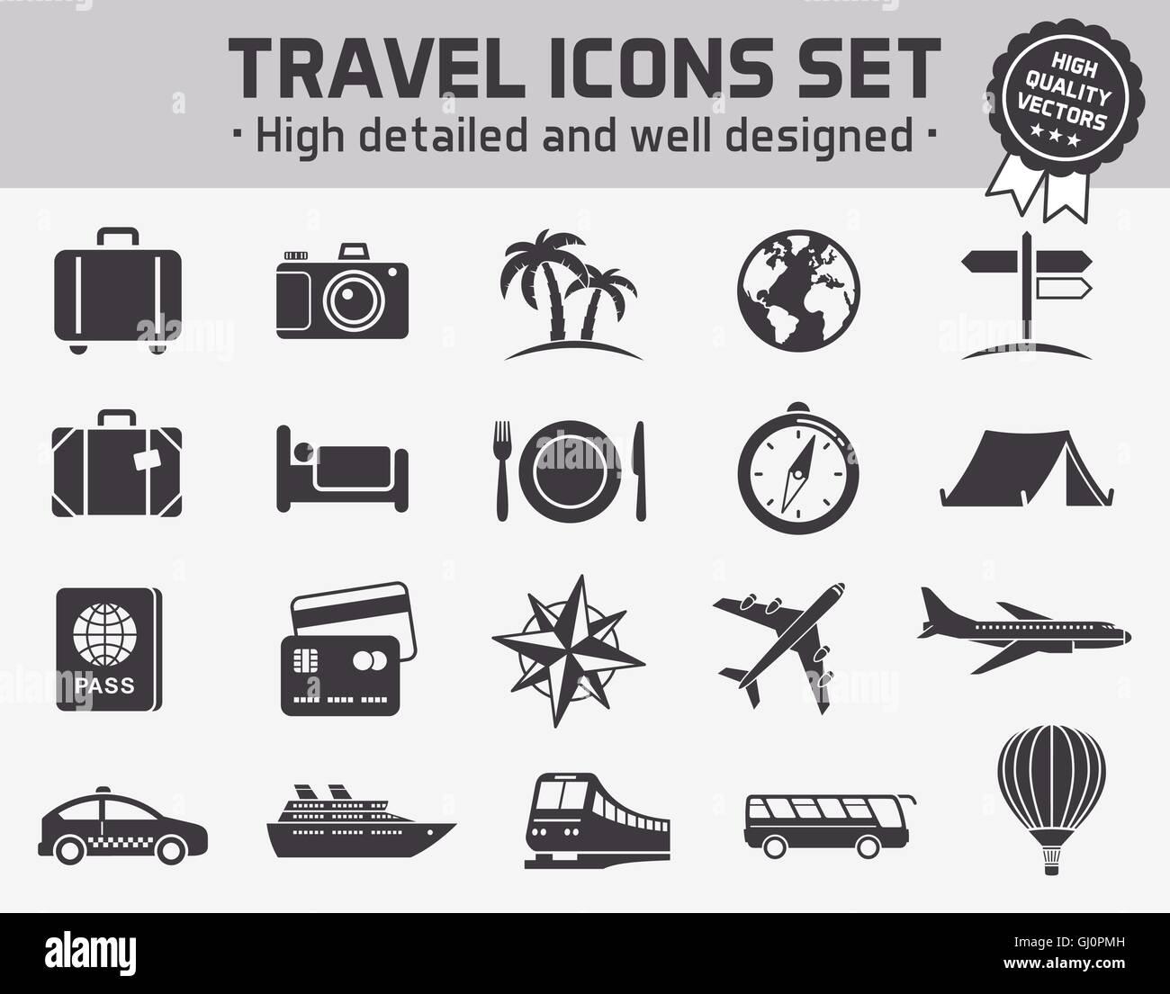 Collection de 20 icônes de haute qualité set de voyage tourisme ant Photo Stock