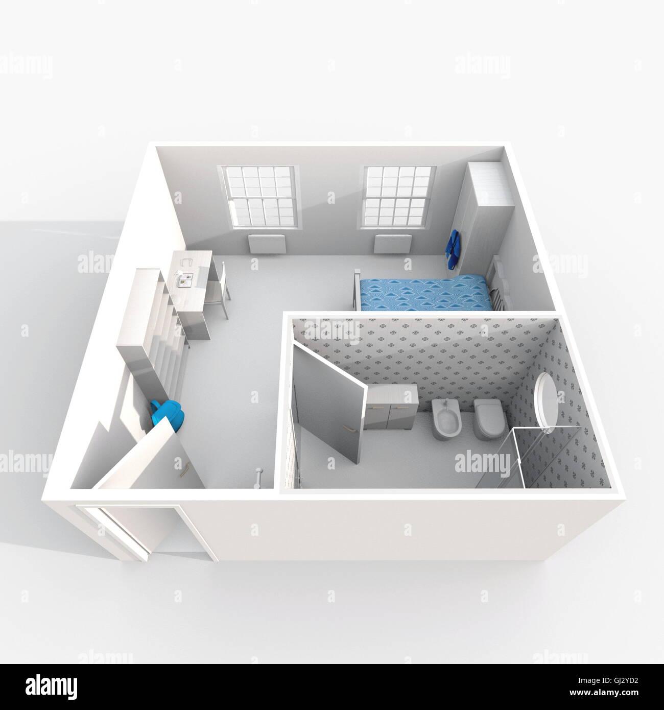 Le Rendu 3D Intérieur Vue En Perspective Du0027hôtel Meublé Appartement Chambre