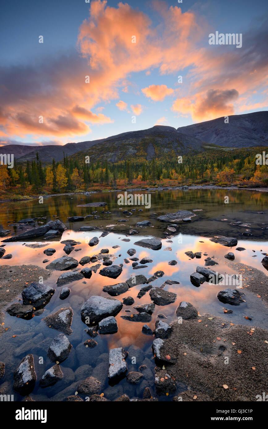 Forêt à lacs polygonale au crépuscule, montagnes Khibiny, péninsule de Kola, Russie Photo Stock