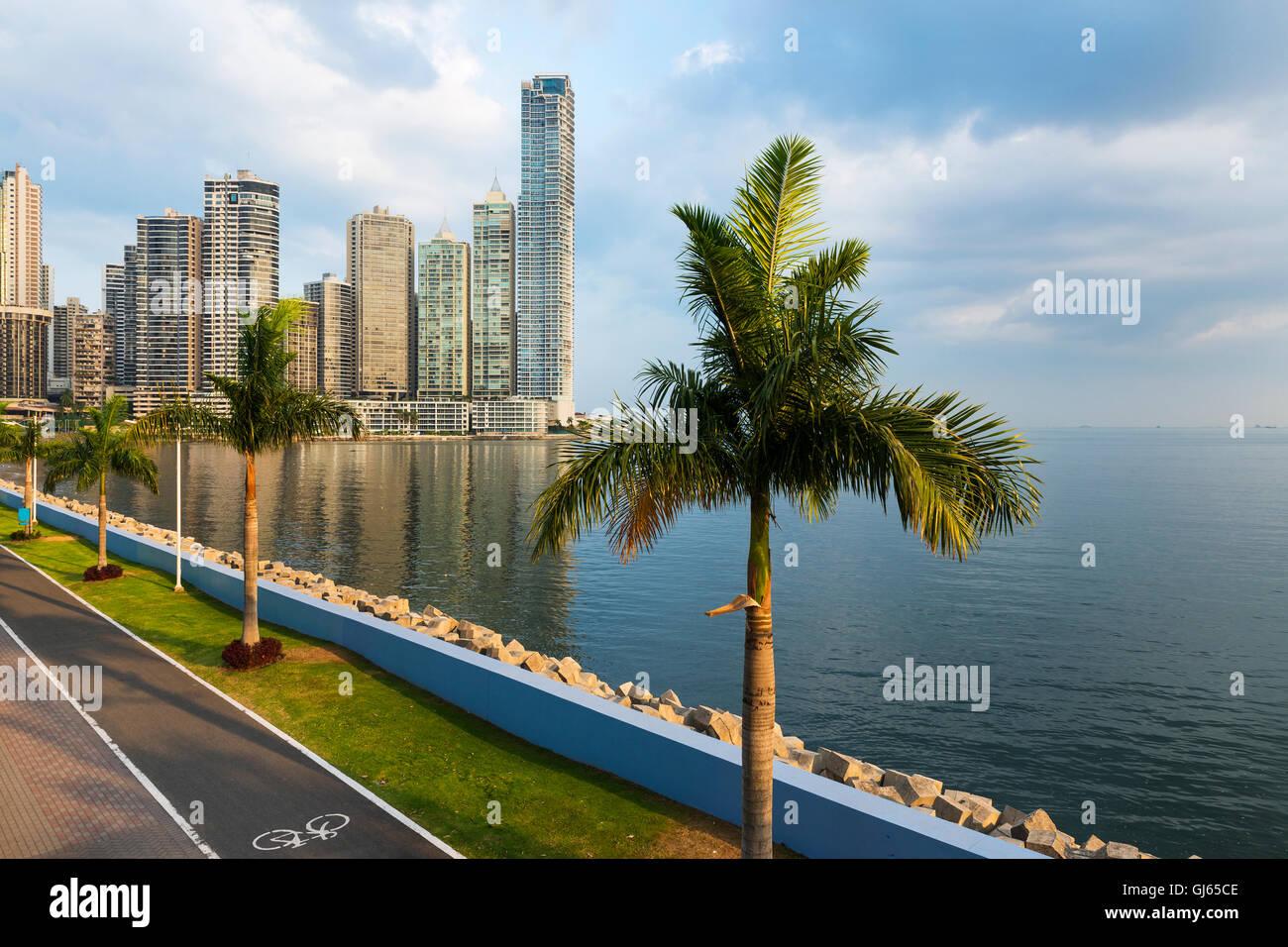 Vue sur le quartier financier au centre-ville de ville de Panama, Panama, avec une voie cyclable et de palmiers; Photo Stock